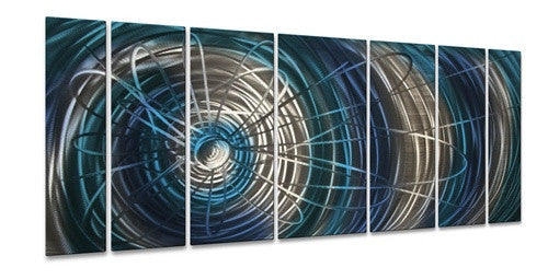 Blue Electric Expansion - Contemporary Metal Wall Hanging - Ash Carl