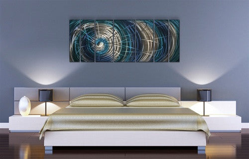 Blue Electric Expansion - Metal Wall Art Room Furnishing - Ash Carl