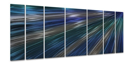 Blue Rays Of Light - Metal Wall Art Decor - Ash Carl