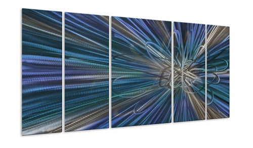 Blue Electron Ray II - Metal Wall Art Decor - Ash Carl