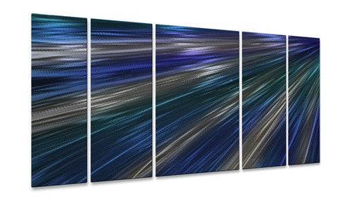 Blue Rays Of Light II - Metal Wall Art Decor - Ash Carl