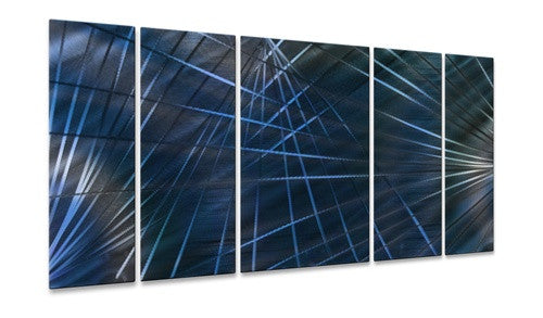 Blue Network II - Contemporary Metal Wall Hanging - Ash Carl
