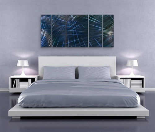 Blue Network II - Metal Wall Art Room Furnishing - Ash Carl