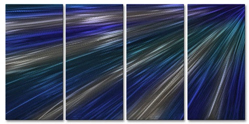 Blue Rays Of Light III - Metal Wall Art Decor - Ash Carl