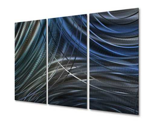 Blue Connecting Rings IV - Metal Wall Art Decor - Ash Carl