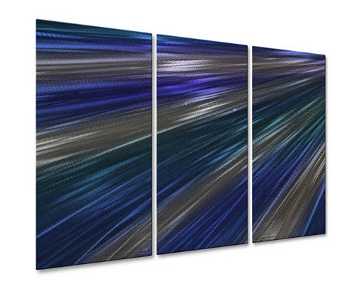 Blue Rays Of Light IV - Metal Wall Art Decor - Ash Carl