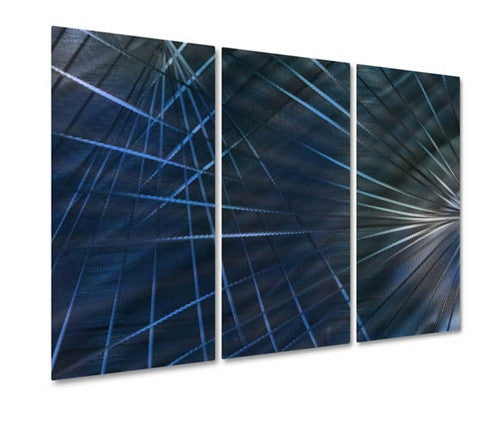 Blue Network IV - Metal Wall Art Decor - Ash Carl