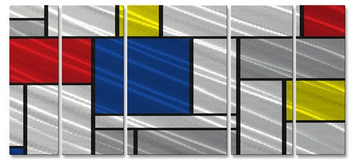 Metallic Mondrian II - Metal Wall Art Decor - Ash Carl Designs