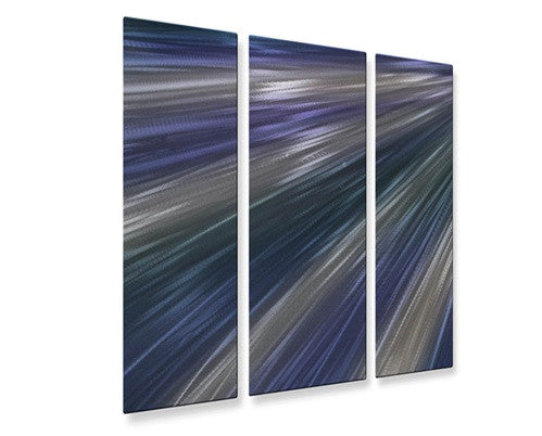 Blue Rays of Light V - Contemporary Metal Wall Hanging - Ash Carl