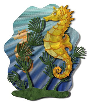 Seahorse Hide and Seek - Metal Wall Art Decor - Ash Carl Designs