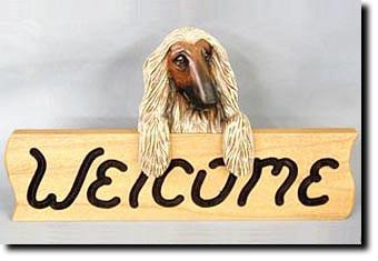 Afghan Hound Dog Wood Welcome Sign