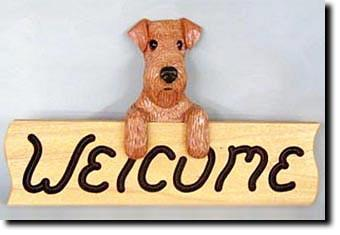 Airedale Dog Wood Welcome Sign