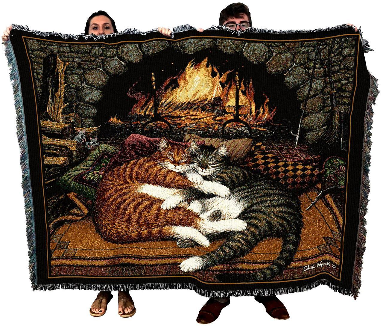 Brown Cats Feline Woven Tapestry Throw