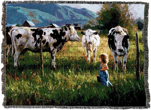 Farm Cow Woven Throw Tapestry