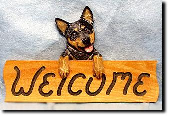 Australian Cattle Dog Dog Wood Welcome Sign