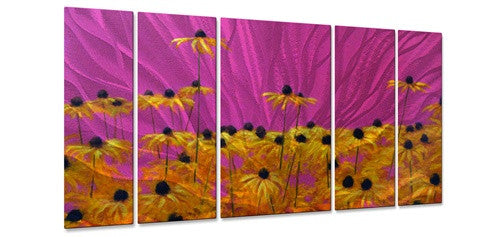 Yellow on Pink - Metal Wall Art Decor - Keith Burnett