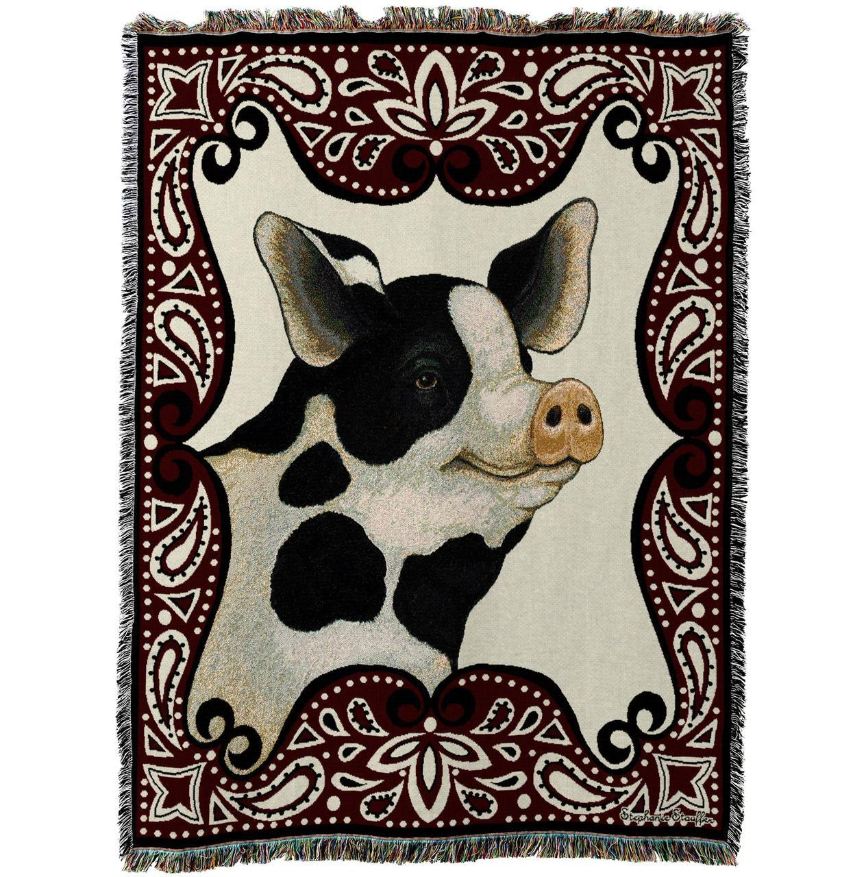 Farm Pig Afghan Woven Throw