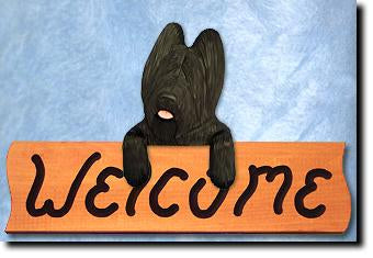 Black Briard Dog Wood Welcome Sign