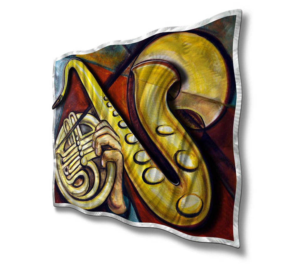 Sophisticated Saxophone Metal Wall Art Decor - Ash Carl - decor4u.com
