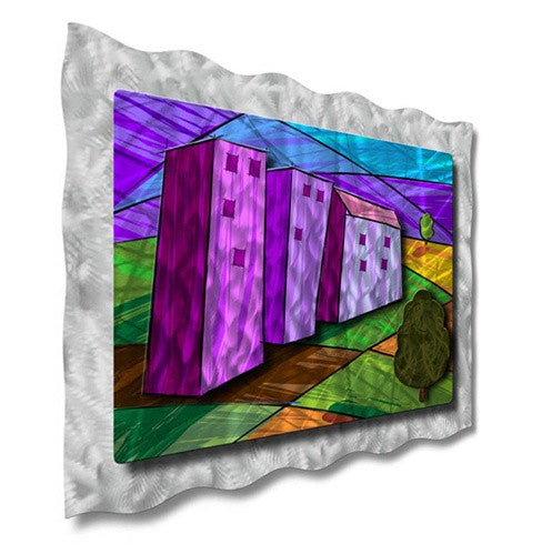 Purple Houses - Metal Wall Art Decor - Ash Carl Designs