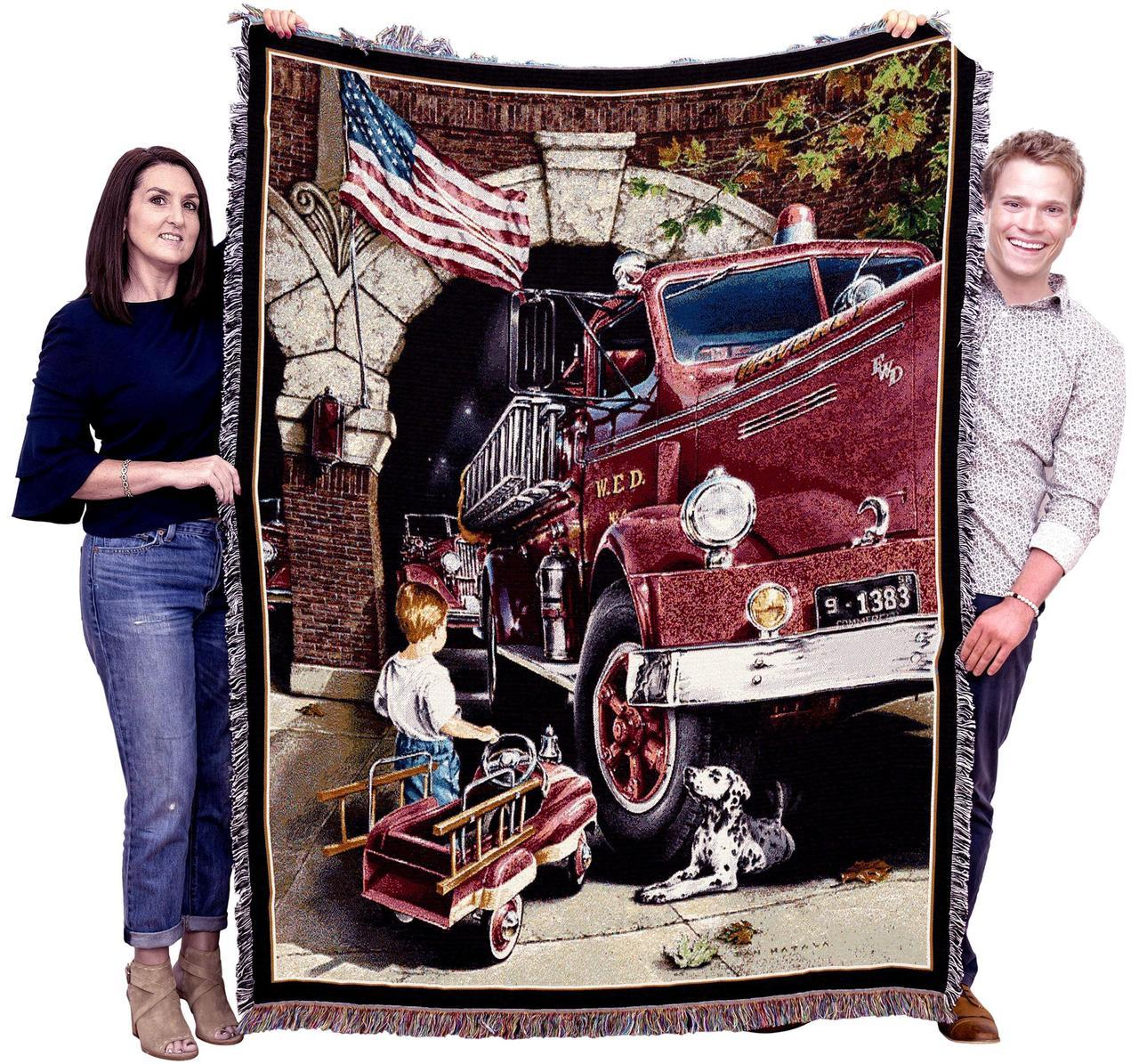 Boys Dreams of being Fireman Throw Blanket