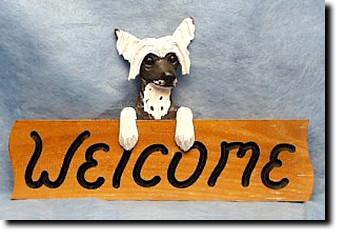 Chinese Crested Dog Wood Welcome Sign