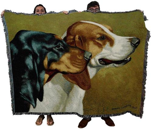 Hunting Dog Woven Textile Tapestry