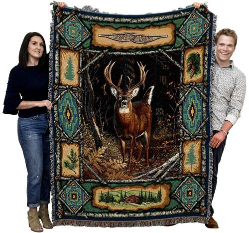 Large Green Brown Wildlife Textile Afghan