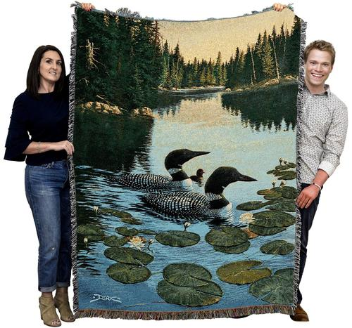 Large Wildlife Ducks Woven Throw Blanket