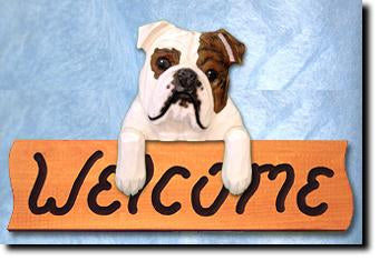English Bulldog Dog Wood Welcome Sign