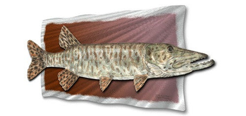 Tiger Muskie - Abstract Steel Metal Welded Wall Art Decor Above Fireplace - Jeff Currier