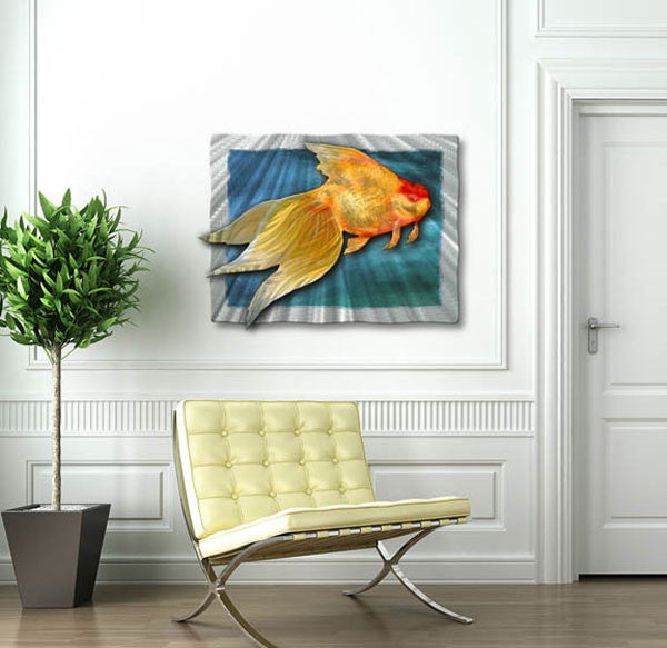 Goldie Goldfish Metal Wall Art Sculpture