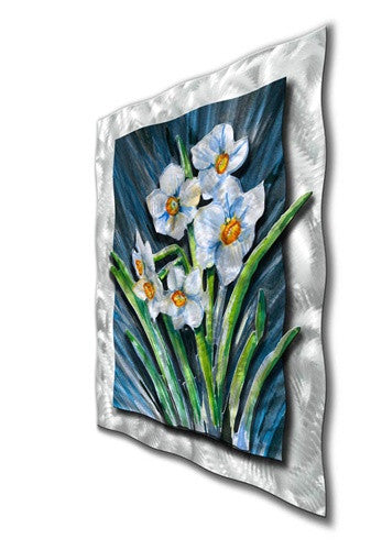 White Daffodils - Abstract Floral Steel Metal Welded Wall Art Decor - Ash Carl Designs
