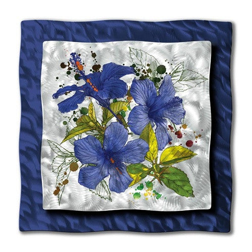 Blue Hibiscus Modern Metal Wall Art