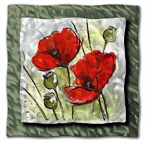Red Blossoms Metal Floral Wall Art Ash Carl