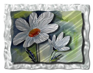 White Daffodils - Abstract Steel Metal Welded Wall Art Decor - Ash Carl Designs daffodil metal wallart