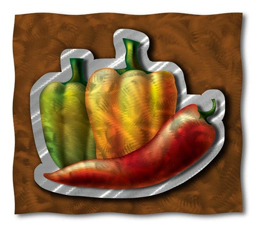 Assortment Of Peppers   Metal Wall Art Decor   Ash Carl Designs