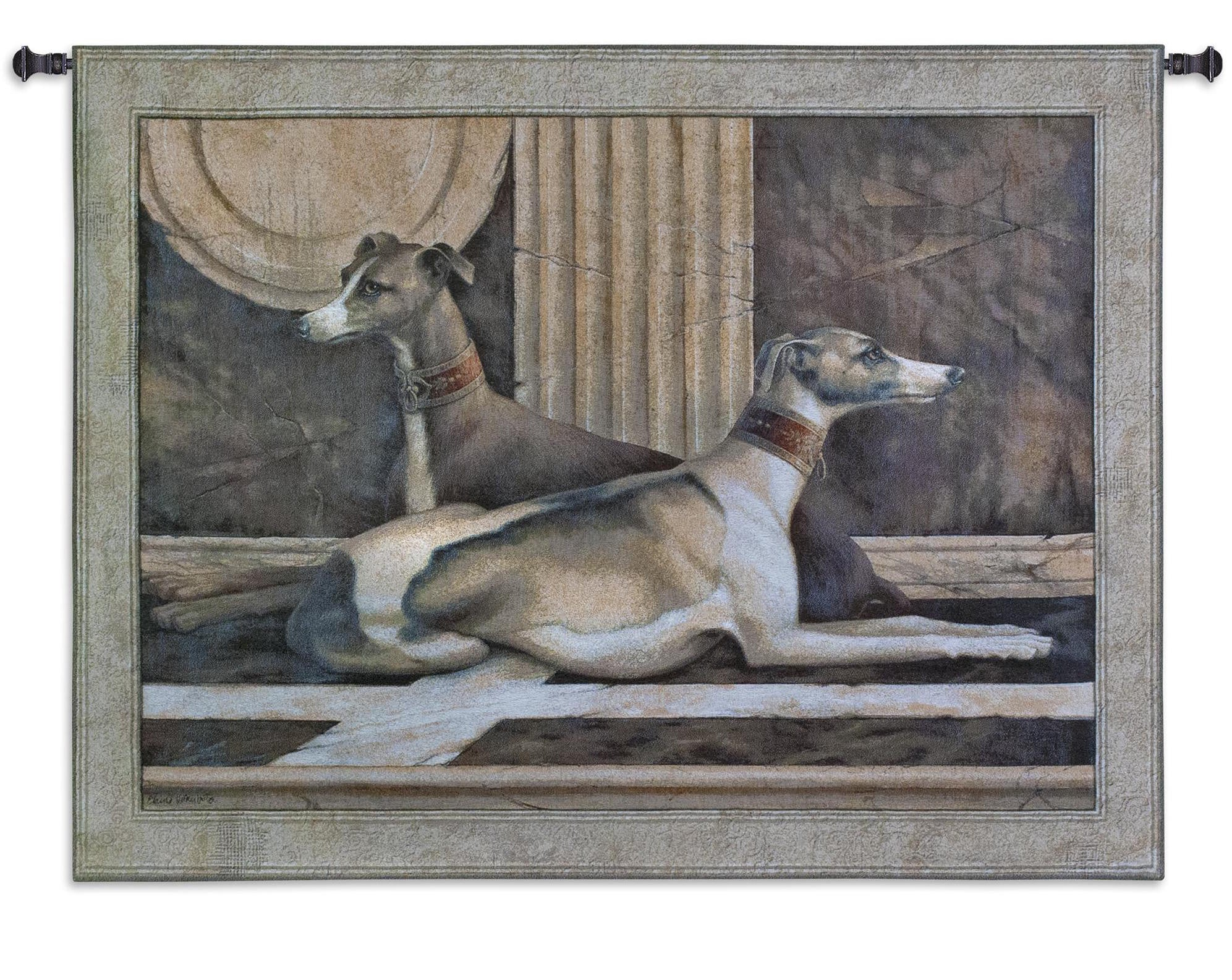 Greyhound Fresco Dog Woven Tapestry