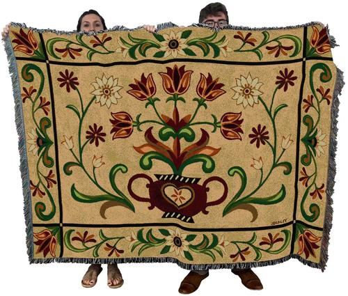 Large Yellow Floral Tapestry Throw