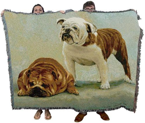 Large Brown English Bulldog Dog Woven Textile