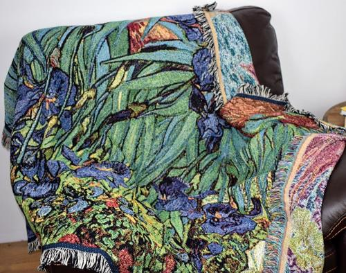 Van Gogh Irises Woven Throw