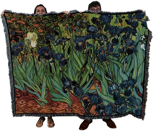 Large Purple Iris Floral Tapestry Throw
