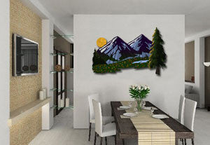 Mountain Valley View Contemporary Modern Wall Art