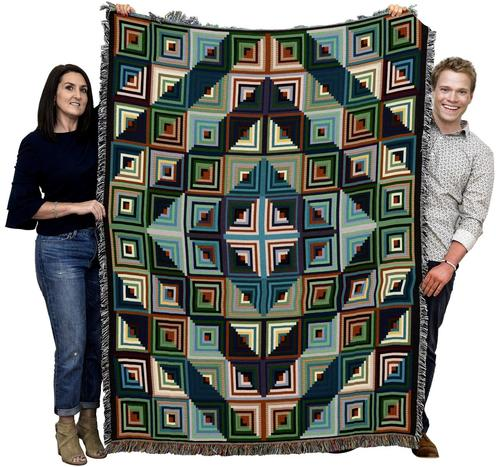 Log Cabin Quilt Color Afghan Blanket