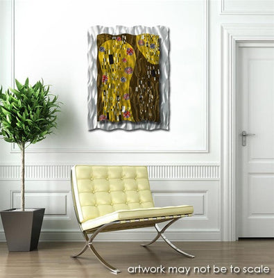 After Klimt Abstract Metal Panel Wall Art Sculpture Yellow Hanging ...
