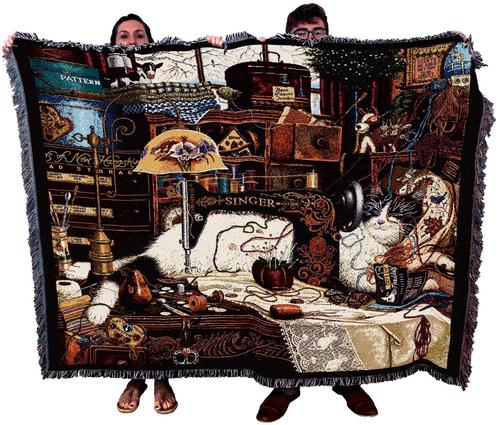 Maggie the Messmaker Cat Lover Textile Tapestry