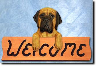 Mastiff Dog Wood Welcome Sign