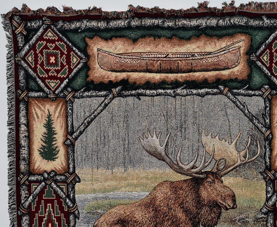 Large Brown Lodge Moose Woven Textile Accent