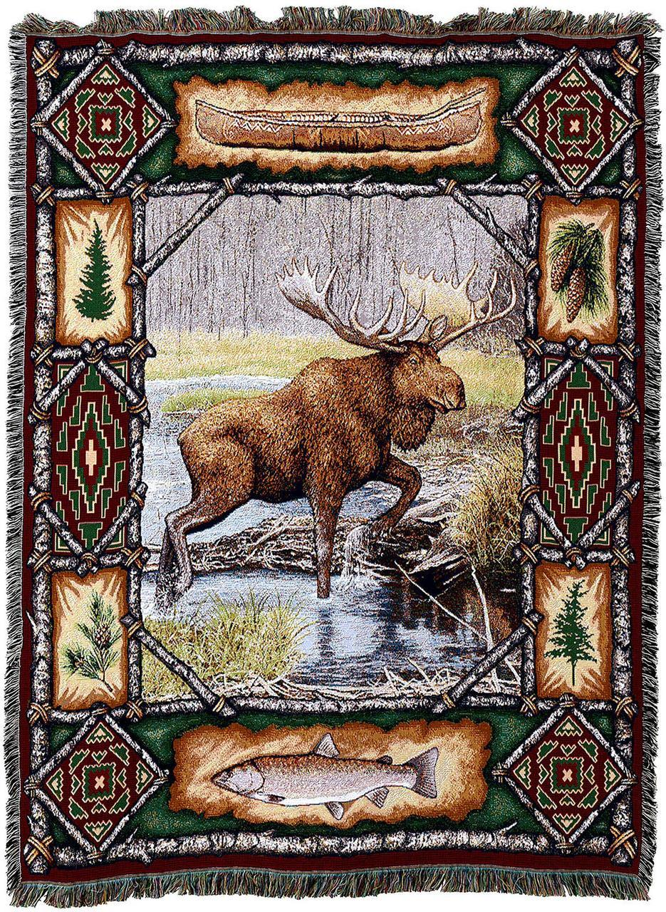 Large Brown Moose Woven Throw Blanket