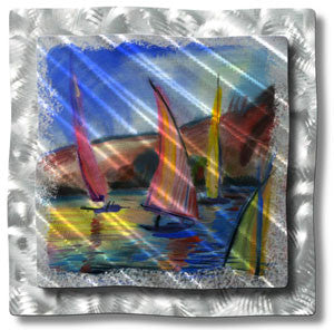 Sunset Sailboats Wall Art Sculpture Ash Carl